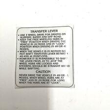 Insert / Instruction Card - Transfer Case - Suzuki Samurai 86-95  ATL,GA