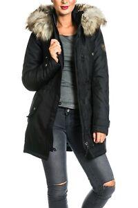 offizieller Preis modernes Design einzigartiges Design Only Damen Mantel onlIris Parka schwarz Jacke Fellkapuze ...