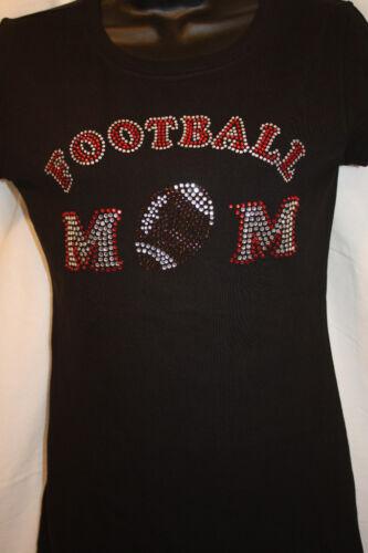 Football Mom Rhinestone BLING *Fitted Babydoll Tee* S-3XL NWOT