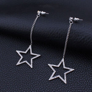 Image Is Loading Brand New Pierced Crystal Star Dangle Earrings Gold