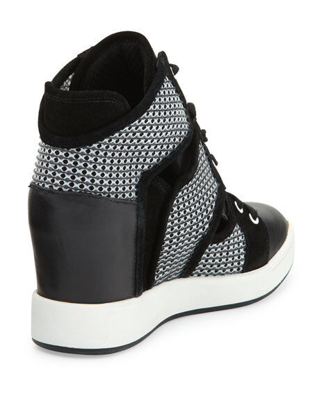 L.A.M.B 8168 Gera Hidden Wedge Lace Up Sneakers Black White White White sz 9 a6f4d5