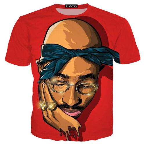 Nouveau Femmes Hommes Rouge Tupac Shakur d/'impression 2pac 3D T-shirt casual manches courtes Tops