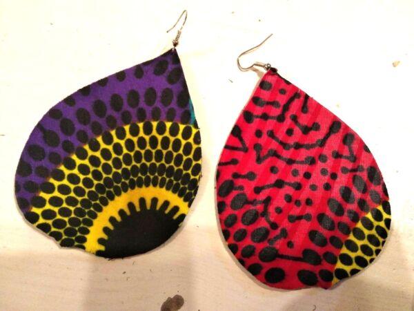 Gehorsam Große Bunte Ohrringe Stoff Afrikanisch Muster Ankara Fabric