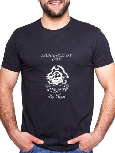 LABOURER BY DAY PIRATE BY NIGHT PERSONALISED T SHIRT FUNNY