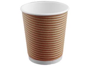 500 Kaffeebecher Coffee to go Becher 200 ml braun Ripple Riffelbecher (PC8-33)
