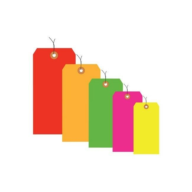 Thornton's Shipping Tags, Pre-Wired, 13 Pt., 2 3 4   x 1 3 8  , Green, 1000