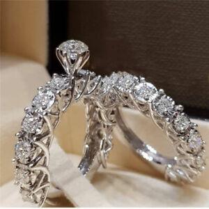 2Pcs//Set Women 925 Silver Filled White Sapphire Rings Wedding Jewelry Sz 6-10