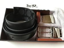 NWT Coach Men's Black Plaque Signature Reversible Dress Belt Box Set F65242-New