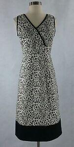 Sheri-Martin-New-York-8-M-black-white-animal-print-faux-wrap-sheath-dress