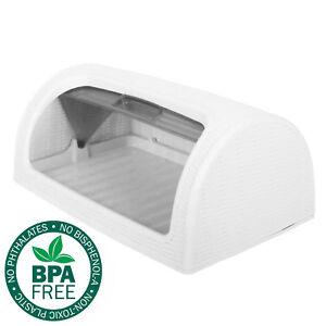 Bread-Bin-Box-Kitchen-Food-Roll-Top-Storage-Loaf-Curved-BPA-Free-Plastic-WHITE
