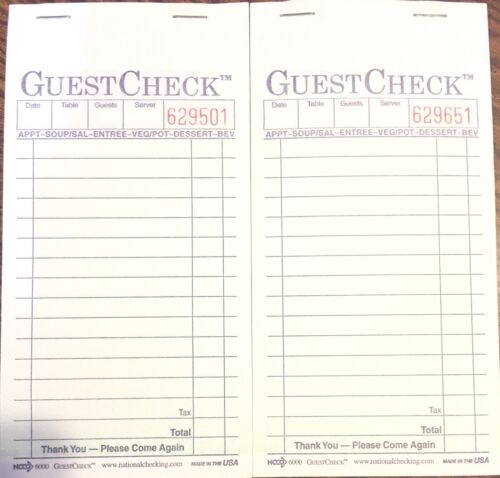 2 Pack G6000 Guest Checks Book Waitress Pad CARBON COPY 15 Line 50 Page Booklet
