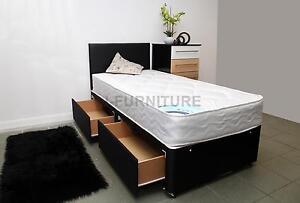 "Brand New 3ft Single Divan Bed With Sliding Doors 2 Base Colors 8.5/"" Mattress!"
