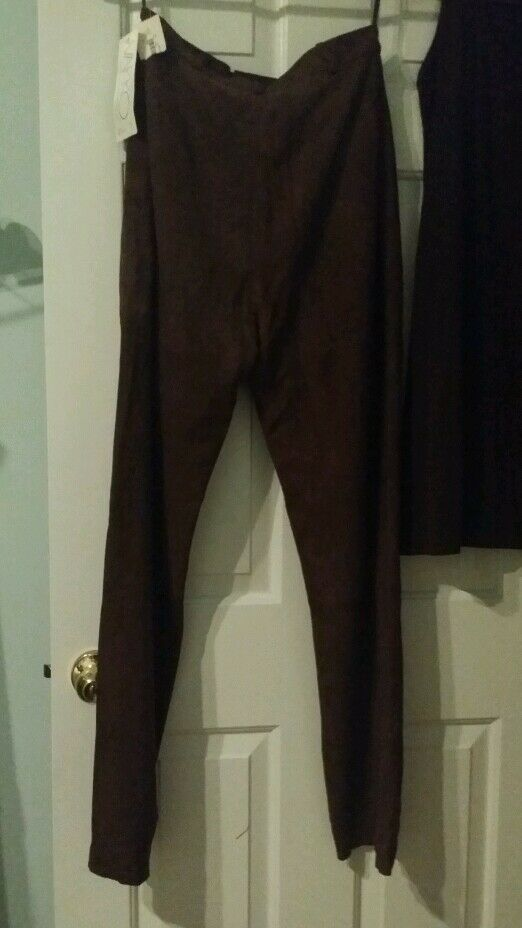 Chocolate Brown leather pants, soft sueded 8 Vakko
