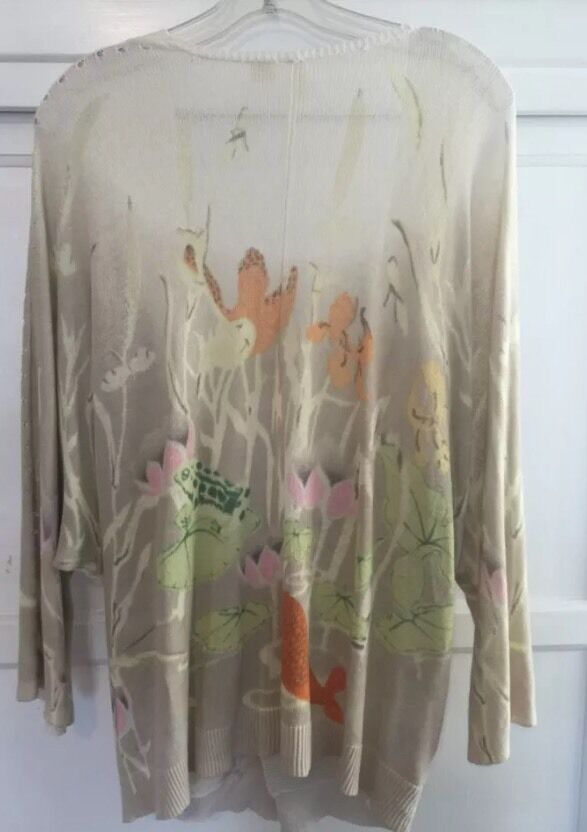 Anthropologie Sweater Sweater Sweater by Moth, Kimono style, Koi fish and flowers, L dce95c