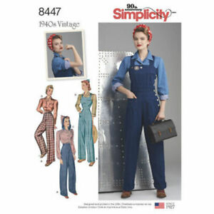 Simplicity-Sewing-Pattern-8447-Misses-16-24-Vintage-Overalls-Pants-Blouse-Shirts