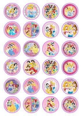 24 Pretty Disney Princess  Cupcake Fairy Cake Toppers Edible Rice Paper