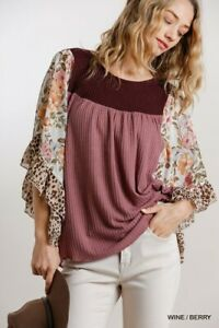 Umgee Floral Animal Print Butterfly Sleeve Waffle Knit Top Size S
