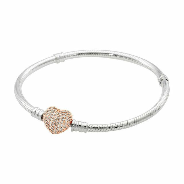 PANDORA 586292cz Rose Gold Silver CZ Pave Heart Clasp Charm Bracelet 7.9