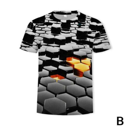 Men//Women Bass Geometry 3D Print Casual T-Shirt Short Tops Sleeve A9F8