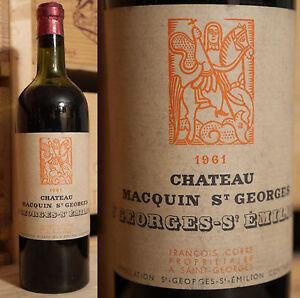 1961er Chateau Macquin Saint Georges-top Millésime & Rare!!!-afficher Le Titre D'origine