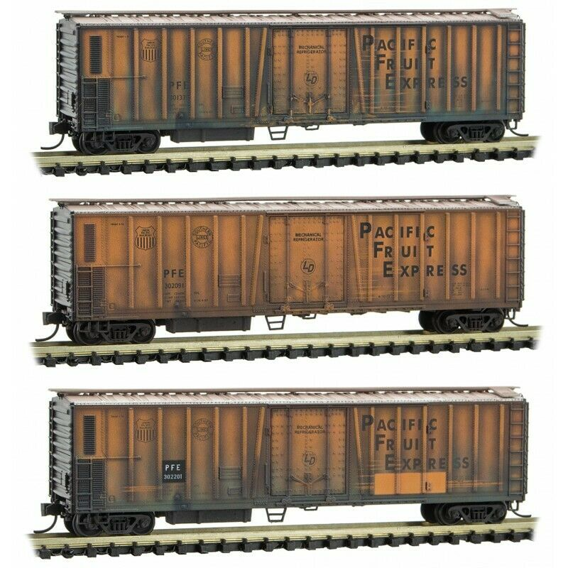 N Scale - MICRO-TRAINS 993 05 580 PACIFIC FRUIT EXPRESS Weatherot Reefer 3-Pack