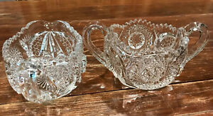 Vintage-Near-Cut-Patterned-Cream-and-Sugar-Cut-Glass-Stunning-Pair