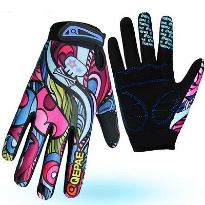 QEPAE MTB BMX Road XC Cycling Bike full Finger Glove Sport Short Gloves M L XL