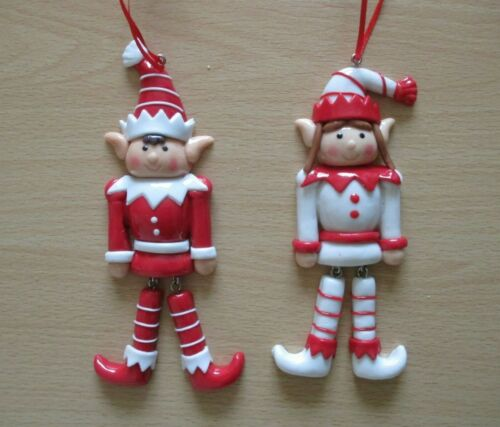 X2 Hanging Elf Christmas Decorations Dangly Legs Red /& White Boy /& Girl Elf