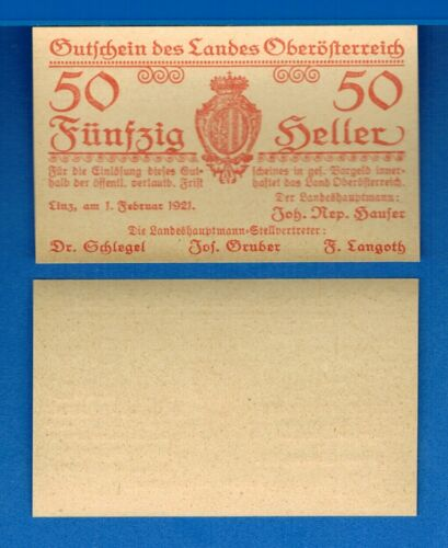 Austria S121 50 Heller Year 1921 Uncirculated Banknote Europe
