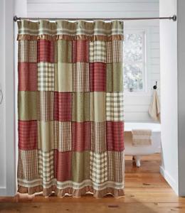 PRAIRIE-WINDS-Shower-Curtain-Farmhouse-Block-Ruffle-Red-Sage-Plaid-Check-Lined