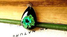 Dried flower resin teardrop pendant silver jewellery supplies C127