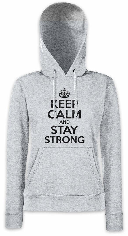 Keep Calm And Stay Strong Damen Hoodie Kapuzenpullover Worker Pump Gym Fitness   | Eleganter Stil