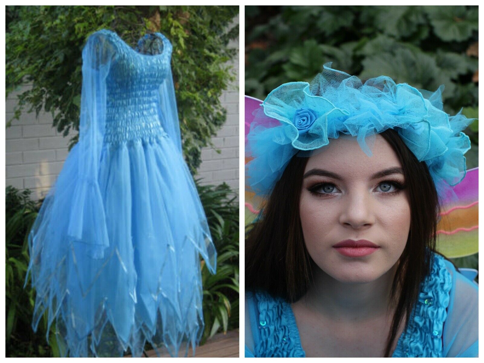 Woman/'s  Fairytale Party Halloween Costume  Dress Wings /& Tulle Halo ~Theatre