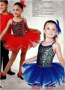NWT-Sequin-Front-Dance-Costume-2-colors-Girls-sz-attached-organdy-skirt-Pageant