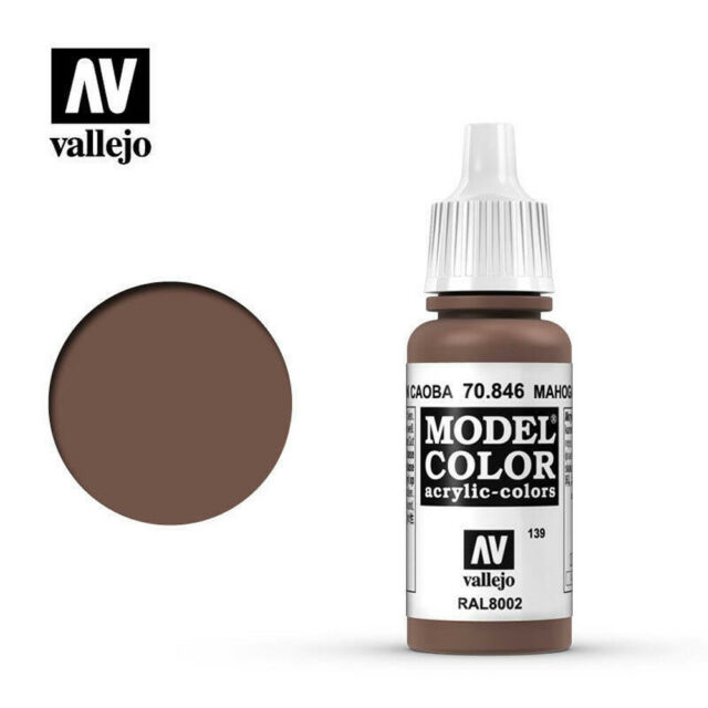 VALLEJO 70846 MODEL COLOUR MAHOGANY BROWN WATER BASED ACRYLIC HOBBY PAINT 17ML