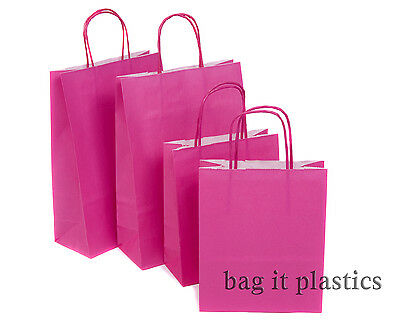 """10 HOT PINK PAPER TWIST HANDLE CARRIER BAGS 6"""" x 3"""" x 8"""" PARTY / HEN NIGHT"""