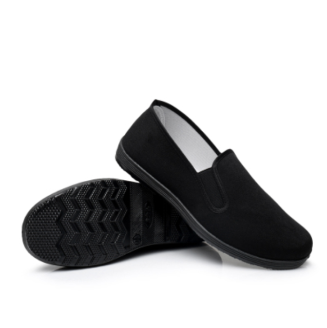 Mens Kung Fu Shoes Chinese Martial Art Ninja Rubber Sole Canvas Slipper Slip On