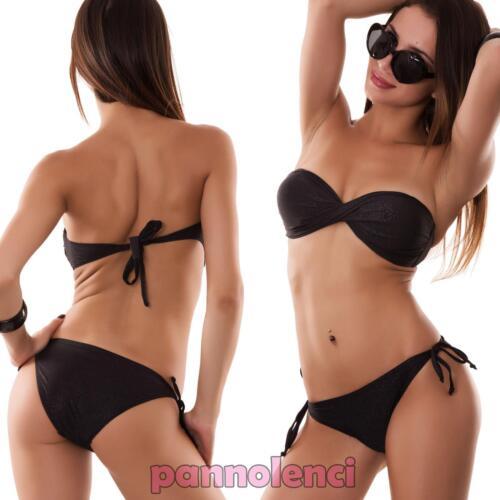 Bikinifrau Badeanzug Glanz Band Zwei Teile Bandeau Neu Md9908