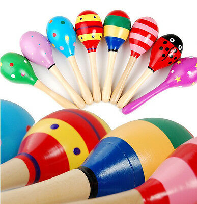 Small Wooden Maracas Baby Kids Child Musical Instrument Rattle Shaker Party Toy