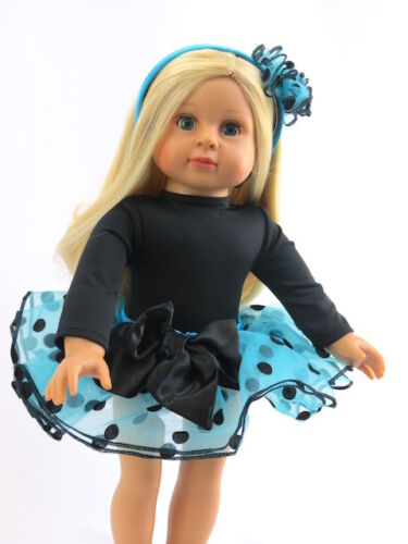 "Blue and Black Polka Dot Tutu Set Fits 18/"" American Girl Doll Clothes"