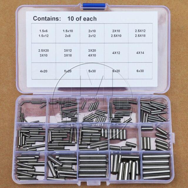 230Pcs 304 Stainless Steel Ø1.5 Ø2 Ø2.5 Ø3 Ø4 Ø5 Ø6mm Dowel Pin Rod Kit
