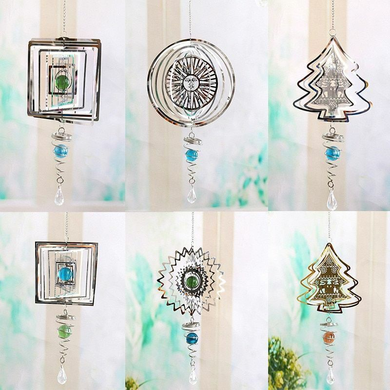 3D Metal Rotating Wind Chimes Stainless Steel Pendant Hanging Garden Home Decors