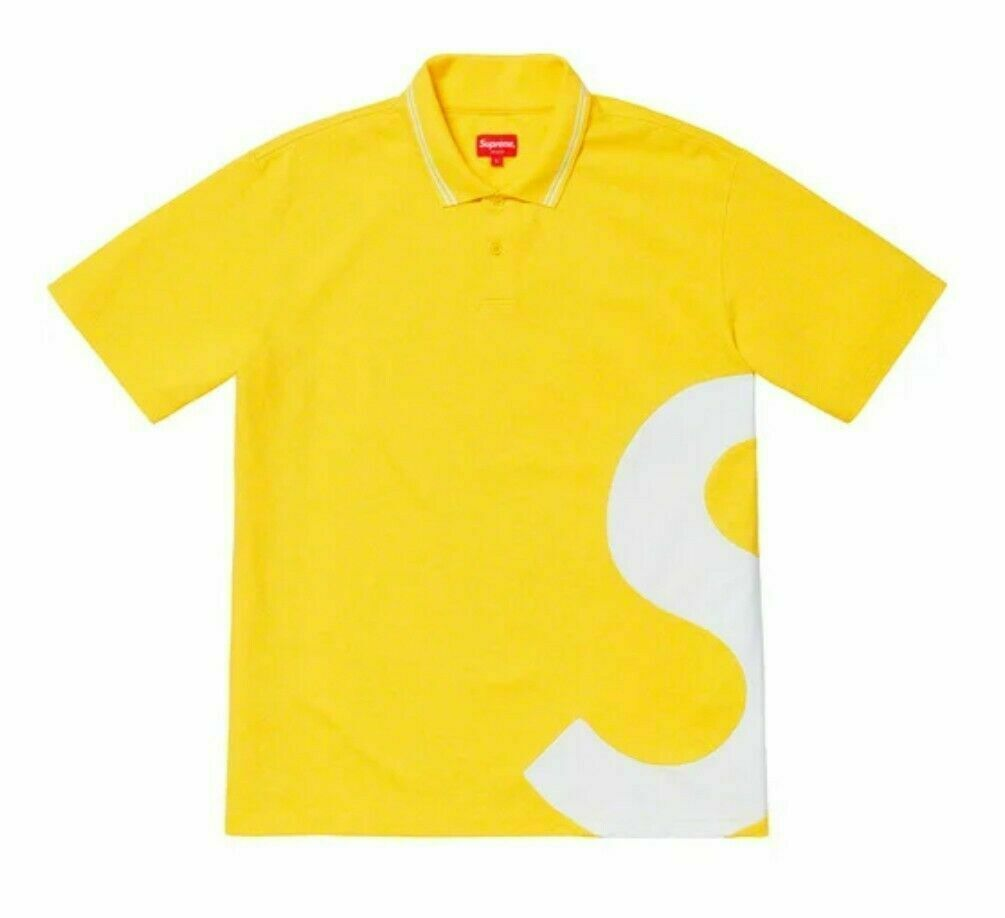 NEW Supreme SS19 S Logo Polo Gelb Größe XL IN HAND 100% Authentic