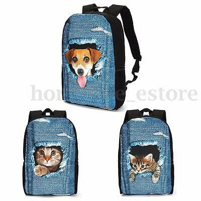 Girls Boys Funny 3D Dog Cat School Bag Backpack Satchel Bookbag Travel Rucksack