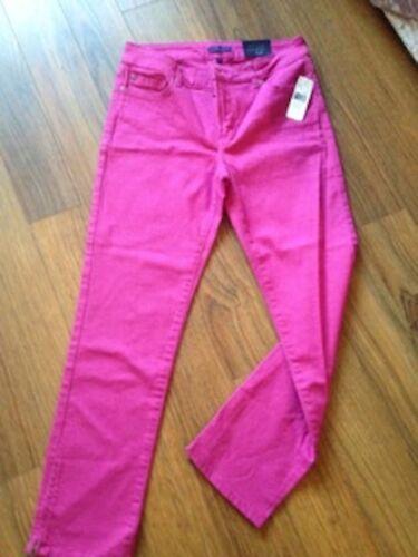 Nouveau Sz 10 Nydj Tuck Fuchsia Cheville Jeans Skinny Minceur Tummy Rose fvFqp7