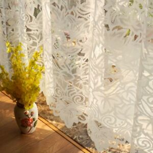 Lace-Door-Curtains-French-Country-Cutwork-Window-Panel-Room-Divider-Decor-Modern