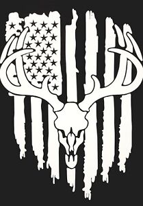 American Flag Deer Skull Vinyl Decal StickerHunting decals