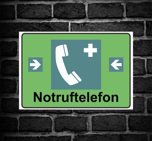 """Schild Hinweisschild Hinweis /""""Notruftelefon/"""" Notruf telefon SOS Gefahr Vorsicht"""