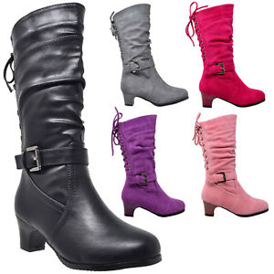 Kids-Boots-Mid-Calf-Girls-Lace-Up-Low-Heel-w-Buckle-Strap-Accent-Shoes