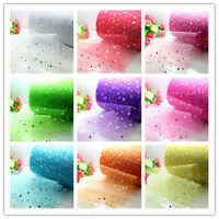 "5/100yd x 6"" Star sequin tulle Bridal Wedding Decoration fabric tutu Roll"